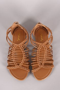 Qupid Braided Woven Gladiator Flat Sandals