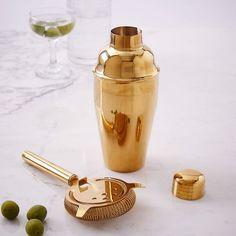 Gold Cocktail Shaker + Strainer | west elm