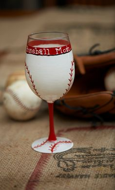 Baseball Mom hand painted Wine glass by TheSparkleFairies on Etsy, $15.00