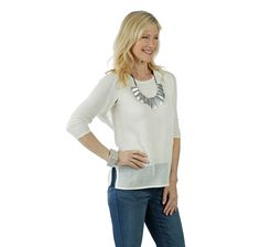 Upgrade your wardrobe with this chic shrug top by Marla Wynne featuring perforated accents all over. Black Canvas, Canvas Size, Teal, Tunic Tops, Stitch, Chic, Bleach, Fabric, Sleeves