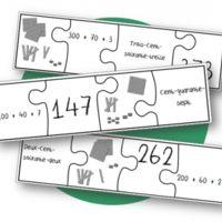 Voici un jeu pour regrouper les différentes écritures d'un nombre. Il y a 3 types de puzzles, maisceux qui ont la même forme se terminent par le même chiffre, donc on ne peut pas vraiment se fier...