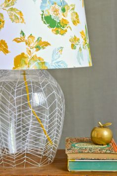 Sharpie Herringbone Lamp Tutorial by Vintage Revivals - tons of cool Sharpie crafts!