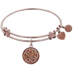 """Angelica Collection Antique Smooth Finish Brass """"""""celtic Round Knot""""""""... ($25) ❤ liked on Polyvore featuring jewelry, bracelets, brass, bangle charm bracelet, expandable charm bangle, heart charm, antique jewellery and expandable bangles"""