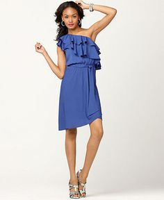 Macys M60 Miss Sixty Dress, Sleeveless One Shoulder Ruffled Belted Blouson ($58.31)