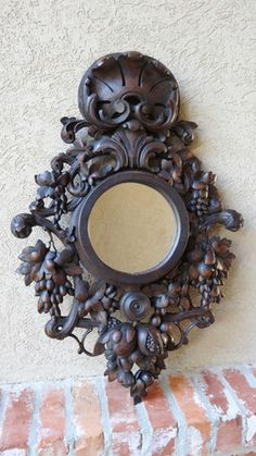 Antique French Carved Round Wall Mirror Black Forest Frame Renaissance Ornate | eBay