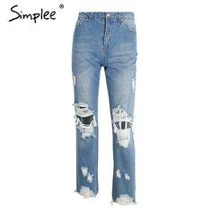 Simplee Hollow out blue women jeans Female vintage hole ripped denim casual pants Women cool streetwear boyfriend zipper pants