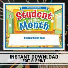 student of the month certificate instant download printable award editable certificate templates school certificates student award
