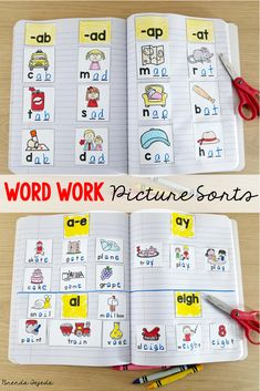 Over 50 word work sorts for the year! No prep and minimal supplies needed! Students cut and paste the headings, then sort the pictures into their notebooks. Differentiated. Great way to focus on word patterns in your word study block. Includes short and long vowels, vowel teams, blends and digraphs, r-controlled vowels. Perfect for centers ! #firstgradewordwork #wordwork #secondgradewordwork #literacycenteractivities Teaching Phonics, Kindergarten Literacy, Literacy Centers, Teaching Reading, Literacy Stations, Phonics Games, Interactive Notebooks Kindergarten, Jolly Phonics Activities, Centers First Grade