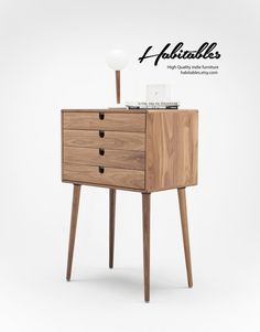 Mid Century Chest of drawers, cabinet  with 4 Drawer in solid  Walnut