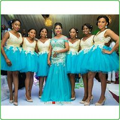 Stunning Bridesmaids Outfits for your big dayWedding Digest Naija African Bridesmaid Dresses, African Wedding Attire, Bridesmaid Outfit, Black Prom Dresses, Bridal Dresses, Bridesmaid Robes, Bridesmaids, Latest African Fashion Dresses, Bridesmaid Dresses