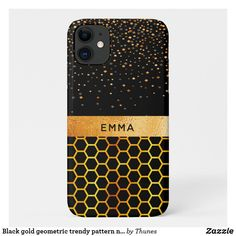 Black gold geometric trendy pattern name iPhone 11 case. Perfect for as a Christmas gift! Iphone 11, Apple Iphone, Iphone Cases, Hexagon Pattern, Pattern Names, Plastic Case, Black Backgrounds, Black Gold, Christmas Gifts