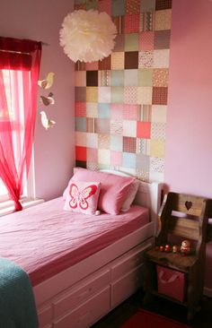Loving the scrapbook pa per on the wall! Makes it look like a hanging quilt. I bet you could do the same with fabric scraps.