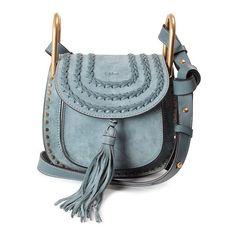CHLOE' Hudson Mini embellished leather shoulder bag ($1,328) ❤ liked on Polyvore featuring bags, handbags, shoulder bags, blue, blue shoulder bag, blue purse, mini handbags, leather handbags and genuine leather handbags