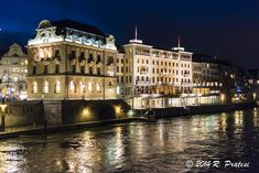 Grand Hotel Les Trois Rois At Night Basel Switzerland