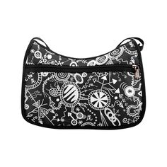 Wheels, Snakes and Worms Black and White Doodle Crossbody Bags (Model Black And White Doodle, Snakes, Worms, Crossbody Bags, Wheels, Doodles, Model, Scale Model, Doodle