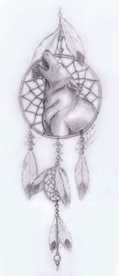 dream catcher drawings | howling wolf dreamcatcher by frostdanger traditional art drawings ...