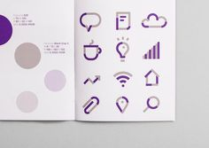 Brand guidelines with a purple spot colour detail designed by Heydays for Norwegian accounting and consultant firm Intu