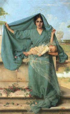 Vittorio Matteo Corcos (Italian, 1859–1933) Title:     MATERNITA  Medium:     Oil on Canvas Size:     98 x 62.5 cm. (38.6 x 24.6 in.)