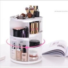 MOFIR Makeup Organizer 360 Degree Rotating, Adjustable Multi-Function Cosmetics Storage Box, Small Size Extra Large Capacity, Fits Different Sizes of Cosmetics Makeup Storage Baskets, Makeup Organization, Storage Organization, Storage Cart, Storage Boxes, Dresser Storage, Organisation Hacks, Storage Units, Bathroom Storage