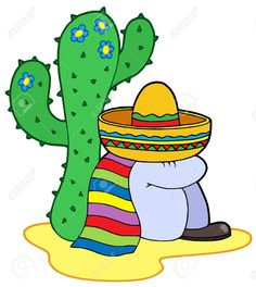 Royalty-Free (RF) Clipart Illustration of a Mexican Man Resting By A Cactus by visekart Painted Clay Pots, Painted Flower Pots, Mexican Paintings, Flower Pot Art, Clip Art Pictures, Stock Pictures, Desert Art, Rock Painting Designs, Free Art Prints