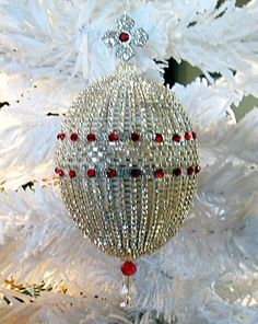 STUNNING Vintage Victorian Style Handcrafted Christmas Ornament Austrian Swarovski Crystals by HolidayCrystals, $150.00