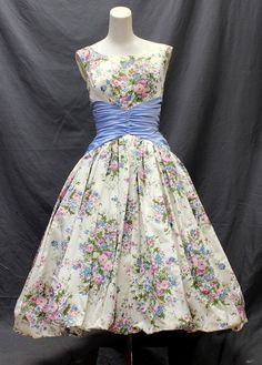 Vtg 50s Floral Blue Acetate New Look Bow Garden Tea Party Dress Dead Stock | eBay