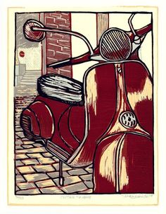 Woodcut prints amaze me. Woodcut Art, Vespa, Scooters, Artsy Fartsy, Printmaking, Project Ideas, Folk Art, Projects To Try, Art Prints
