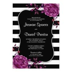 #Floral Plum Black White Stripe Wedding Invitation - #weddinginvitations #wedding #invitations #party #card #cards #invitation #elegant