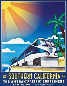 A poster featuring the Pacific Surfliner, circa 2000.