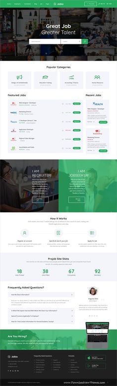 JobHunt is clean and modern design 5in1 responsive bootstrap HTML template for #jobsearch, Job  board #HR and #recruitment services website to live preview & download click on image or Visit  #websitedesign
