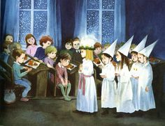 Santa Lucia Swedish Chirstmas and Winter Solstice Maire-Ilon Wikland-née Pääbo; Winter Illustration, Christmas Illustration, Children's Book Illustration, Swedish Christmas, Scandinavian Christmas, Christmas Art, St Lucia Day, Cool Sketches, Advent
