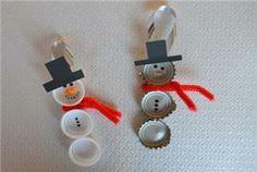 sneeuwpop van flessendopjes