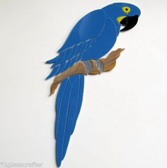 Precut stained glass art kit HYACINTH MACAW PARROT BIRD Mosaic Stone Tile Inlay. Many original designs selling on ebay.