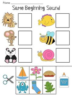 (Phonics) Beginning Sounds Cut and Paste Worksheets! Kids match the two words with the same beginning sound, cut, and paste! Alphabet Activities, Preschool Worksheets, Literacy Activities, Educational Activities, Teaching Resources, Kindergarten Literacy, Early Literacy, Teaching Reading, Fun Learning