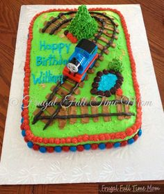 Thomas der Zug Geburtstagstorte- Thomas The Train Birthday Cake Thomas der Zug G. Thomas the train birthday cake - Thomas the train birthday cake Th Thomas Birthday Parties, Thomas The Train Birthday Party, Trains Birthday Party, Train Party, Thomas Birthday Cakes, Car Party, Third Birthday, Birthday Fun, Cake Birthday
