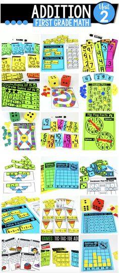 In this Math Made Fun Unit, students will use a variety of hands-on math games and NO PREP practice pages to help achieve mastery. First Grade Addition, Math Addition, First Grade Math, Math 5, Math Games, Double Game, Core Learning, Thing 1, Common Core Math