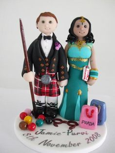 Scottish & Indian Wedding Cake Topper