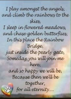 The Rainbow Bridge. I can hardly wait to see all my precious fur-babies that are at the Bridge. Dog Love, Puppy Love, Rainbow Bridge Poem, Pet Loss Grief, Dog Poems, Pet Remembrance, Loss Quotes, Happy We, Dog Memorial