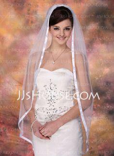 Wedding Veils - $16.99 - One-tier Fingertip Bridal Veils With Ribbon Edge (006003952) http://jjshouse.com/One-Tier-Fingertip-Bridal-Veils-With-Ribbon-Edge-006003952-g3952