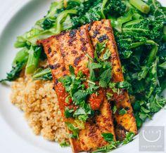 Now that's what we call tofu! Chimichurri Tofu, Sautéed Kale + Quinoa.