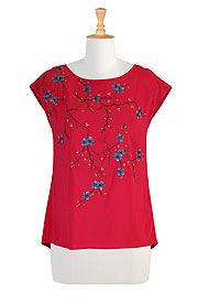 I <3 this Floral embellished stretch crepe tunic from eShakti