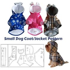 Dog Coat pattern Dog clothes patterns for sewing Small dog clothes pattern Dog Jacket Pattern PDF Small Dog Coats, Small Dogs, Small Dog Clothes Patterns, Dog Pattern, Dog Coat Pattern Sewing, Sewing Patterns, Dog Items, Pet Fashion, Dog Jacket