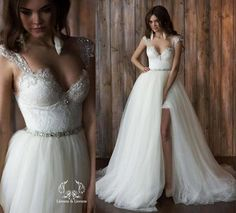 2016 Sheath Short Lace Wedding Dresses Cap Sleeves Sweetheart Open Back Wedding Gowns With Detachable Train Bride Dress Vestidos