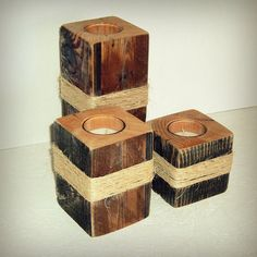 Rustic Reclaimed Wood Candle Holders by TheCoffeeTableShop on Etsy