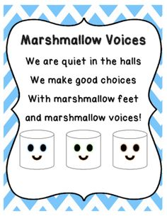 Marshmallow Voices Poem/Chant Posters & Quiet Hallway Behavior Tickets from Bookoodles of Learning on TeachersNotebook.com (8 pages) First Day Of School Activities, Kindergarten First Day, First Grade Classroom, Music Classroom, Preschool Classroom, Classroom Door, September Activities, Kindergarten Rocks, Classroom Setup