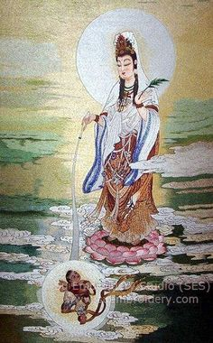 Guanyin, silk embroidery painting, hand embroidered silk art, Suzhou embroidery, Chinese embroidery, Su Embroidery Studio
