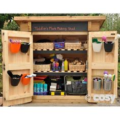 Self selection shed for outdoor continuous provision - Mark making. Eyfs Outdoor Area, Outdoor Fun, Outdoor School, Outdoor Classroom, Classroom Ideas, Outdoor Learning Spaces, Outdoor Spaces, Outdoor Living, Shed Design Plans