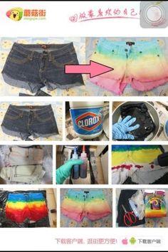Pretty ropa bonita, customiza tu ropa, reciclaje de ropa, ropa reciclada, c Diy Fashion, Ideias Fashion, Ty Dye, Diy Sac, Tie Dye Crafts, Diy Shorts, Diy Vetement, Do It Yourself Fashion, How To Tie Dye