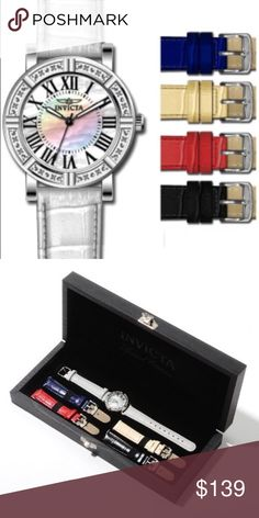 Invicta 12641 Wild Flower Lady Watch W/ Leather Product Specifications:  Watch Information: Brand: Invicta Model number	12641 Part Number	 12641 Item Shape	Round Dial window material type	Flame Fusion Display Type	Analog Clasp	Buckle Case diameter	33 Band Material	Leather Band width	16 Band Color	Multi Dial color	Mother of Pearl Movement	Quartz Water resistant depth	100 Meters Invicta Accessories Watches