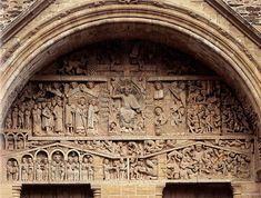 """Last Judgment"" tympanum, stone and paint. Church of Sainte-Foy. Ap Art History 250, History Images, Romanesque Art, Romanesque Architecture, Amazing Architecture, Art And Architecture, St Catherine Of Alexandria, Life Paint, Roman Art"